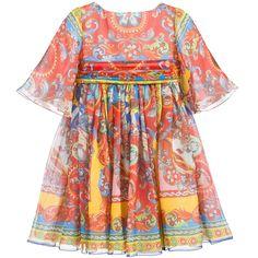 DOLCE & GABBANA SS 2016 Dolce & Gabbana Silk Chiffon 'Carretto Siciliano' Dress at Childrensalon.com