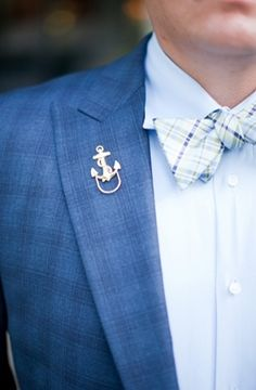 nautical anchor lapel pin or boutonniere alternative for the groom Summer Wedding Dress Guest Attire Nautical Wedding Inspiration, Nautical Wedding Theme, Seaside Wedding, Blue Wedding, Wedding Groom, Wedding Ideas, Wedding Souvenir, Diy Wedding, Wedding Favors