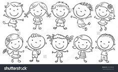 Ten happy cartoon kids, black and white outline