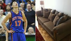 One of the couches Jeremy Lin has been sleeping on.
