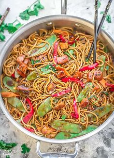 Chicken Lo Mein - Best EASY Authentic 20 min & perfect for weeknights or meal prep for work lunch bowls! Skip the take-out, one pot & way better & healthier