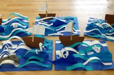 Origami Whales with boat in ocean- elementary art(art teacher: v. giannetto) - Sculpture - Print the sulpture yourself - Origami Whales with boat in ocean- elementary art(art teacher: v.Paper sculpture example- Origami Whales with boat in ocean- deze Projects For Kids, Crafts For Kids, 3d Art Projects, Boat Crafts, Summer Art Projects, Preschool Projects, Arte Elemental, Classe D'art, 2nd Grade Art