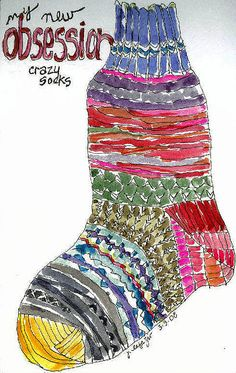 LINE Project- Crazy socks. I did a lesson similar to this picture only it was a Christmas sock with graders. They loved it! Art Sub Plans, Art Lesson Plans, Art Sub Lessons, Winter Art Projects, Winter Project, Winter Craft, 2nd Grade Art, Crazy Socks, Middle School Art