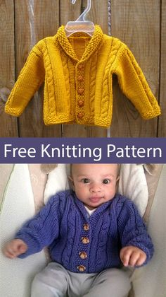 Free Knitting pattern for baby cardigan with shawl collar and cables Sizes 12 months 18 months 24 months 2 years Designed by Lion Brand Yarn Aran weight yarn Pictured projects by earlyrider and KellyK Cardigan Bebe, Knitted Baby Cardigan, Knit Baby Sweaters, Baby Boy Sweater, Baby Vest, Aran Sweaters, Toddler Sweater, Knitted Baby Clothes, Baby Knits