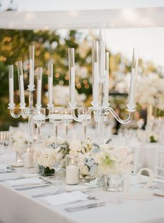 #tablescapes, #candelabra, #centerpiece    Read More: http://www.stylemepretty.com/2015/01/08/elegant-blush-ivory-outdoor-wedding/