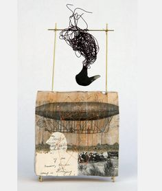 Love Returns Book fragments, polymer clay, wire, string, PVA glue, image transfer, 7.5 x 4 x 1.25 inches, 2006