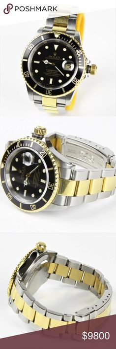 Authentic Rolex Submariner 2 Tone Black Gold Watch 100% Authentic Genuine Legit  Men's Rolex Submariner Sub 2-tone Black & 18k Gold Wrist watch  Style: 16613 Material: Stainless Steel & 18k Gold Serial - P (2000) Condition: 9/10 slight surface scratches (all polishable) No dings or marks  Like us on Facebook! @ModaByBoutique MODA Boutique SF Rolex Accessories Watches