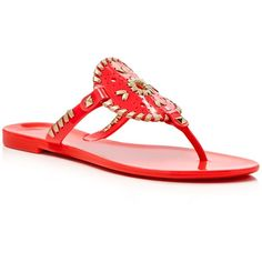 Jack Rogers Georgica Jelly Thong Sandals ($53) ❤ liked on Polyvore featuring shoes, sandals, jelly sandals, water proof shoes, jack rogers, waterproof footwear and jack rogers shoes