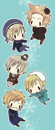 Chibi Nordics!  Denmark, Norway,  Iceland, Finland and Sweden
