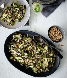 Char-grilled zucchini with mint and almonds recipe :: Gourmet Traveller