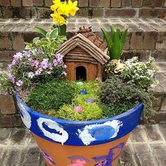 potted fairy house