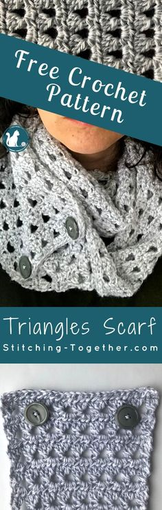 A regular scarf or an infinity scarf? BOTH! I love this convertible crochet scarf with buttons! You must check out this free pattern and make your own triangles crochet scarf.