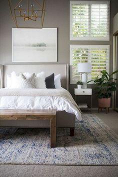 80 Pretty Scandinavian Bedroom Design Trends - April 27 2019 at Coastal Master Bedroom, Master Bedroom Design, Home Decor Bedroom, Coastal Bedrooms, Diy Bedroom, Bedroom Designs, Bedroom Wall, Master Suite, Pottery Barn Bedrooms