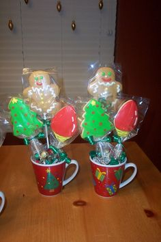 Here is a sample of the cookie bouquets that a customer ordered.  Cookies were stuck in floral foam and covered with holiday candy.