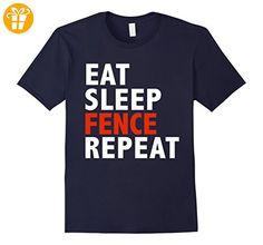 Eat Sleep Fence Repeat Funny T-shirt Fencing Fencer Gifts-Herren, Größe S-Navy (*Partner-Link)