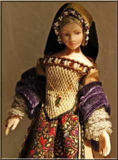 Heverbell Miniatures • Thomasin -SOLD • Porcelain Dolls - Costumed & Kits / Trims & Fabrics