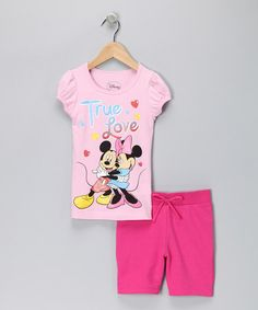 $9.99    Take a look at this Pink 'True Love' Mickey & Minnie Tee & Shorts by Disney: Girls' Sets on #zulily today!