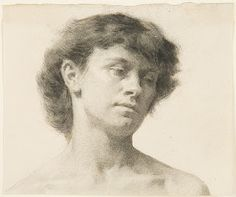 Thomas Eakins, Head of a Woman. Black chalk and charcoal on off-white  laid paper