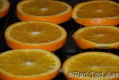 How to dry orange slices.  Sprinkle cinnamon on top of the slices before baking to add a wintery fragrance!