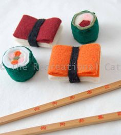 felt sushi cat toys with catnip inside (could easily DIY)