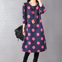 Women Autumn Long Sleeve Round Neck Dress