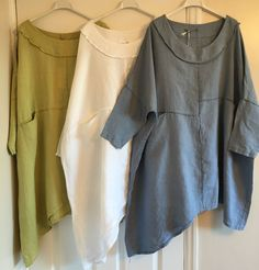 New Italian Lagenlook LINEN Oversized Asymmetric Panel Stitch Pocket Tunic Top