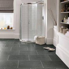 Excellent bathroom vinyl flooring dark tips for 2019 Vinyl Flooring Kitchen, Luxury Vinyl Tile Flooring, Modern Flooring, Slate Flooring, Flooring Ideas, Linoleum Flooring, Vinyl Flooring For Bathrooms, Dark Tile Floors, Penny Flooring