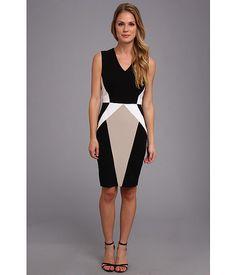 Calvin Klein Lux Color Black Sheath Dress Black Multi - 6pm.com