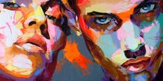 Françoise Nielly is a French knife-painter who is famous for painting vibrant and colourful closeup portraits of people such as Barack Obama. L'art Du Portrait, Abstract Portrait, Artistic Portrait, Galerie Saatchi, Painting Inspiration, Art Inspo, Pop Art, Arte Pop, Modern Art