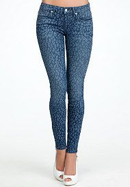 Leopard Laser Print Skinny Jeans at bebe