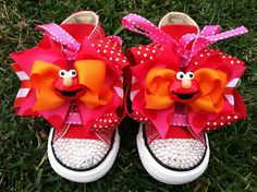 ELMO SHOES - Elmo Birthday - Elmo Party - Elmo Costume - Swarovski Crystals - Sparkle Toes - Red Converse - Infant/Toddler/Youth. $69.99, via Etsy.