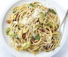 Spaghetti with Brussels Sprouts, Pancetta, and Hazelnuts by finecooking #Pasta #Spagehtti #Brussel_Sprouts #Pancetta