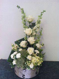 White roses, cream stock, Lamar Greenhouse and Florist
