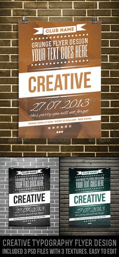 Buy Creative Typography Flyer Design by djjeep on GraphicRiver. Creative Polygon Typo Flyer – Included 3 Versions of Flyer Design. Creative Typography, Vintage Typography, Typography Poster, Graphic Design Typography, Web Design, Print Design, Flyer And Poster Design, Plakat Design, Flyer Design Inspiration