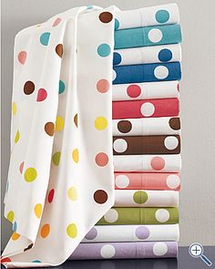 Polka dot sheets for grown-ups! From Garnet Hill #sheets #polka_dots #bedding