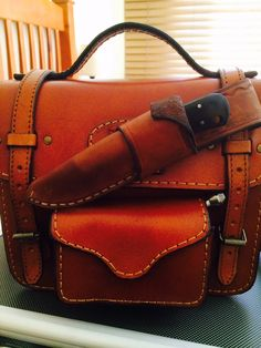 Leather fly fishing bag.