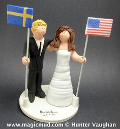 Swedish and American flags wedding cake topper...love can conquer any distance!