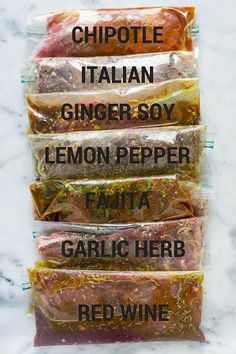 7 Best Steak Marinades (a sweet pea chef) With these 7 Best Steak Marinades, you'll have all sorts of flavor and variety to spice up your next steak dinner. Get tips for how to marinate steak and how to freeze marinated steak plus 7 great ste Marinade Für Steaks, Curry Marinade, Chicken Marinade Recipes, Marinade Sauce, Chicken Marinades, Steak Marinades, Tri Tip Marinade, Easy Steak Marinade, Pork Tenderloin Marinade