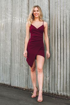 "Go for a bold look this holiday season in our ""Just Gotta Get It Dress""! This stunning piece features an overlapping v-neckline, thin spaghetti straps, and a trendy asymmetrical hem! For the complete look, pair with nude or black heels and some jewelry. Personal Stylist, Holiday Dresses, Girls Night Out, Black Heels, Gifs, Bodycon Dress, Fancy, How To Wear, Outfits"