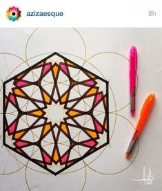 If they were to continue coloring this it would be beautiful Islamic Art Pattern, Arabic Pattern, Geometry Pattern, Geometry Art, Pattern Art, Mandala Design, Mandala Art, Geometric Designs, Geometric Shapes