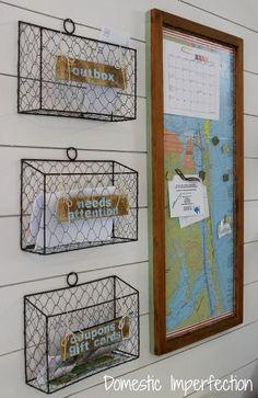 kitchen command center mail sorter, cleaning organization