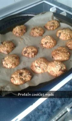 Protein cookies   oats,protein powder,honey,water and dates bake in oven