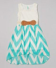 Look at this #zulilyfind! Mint & White Zigzag Lace Belted Dress by Just Kids #zulilyfinds
