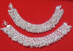 KUCHI Tribal Ethnic Bellydance Silver Tone Anklet Payal Jewelry India 2 PC for sale online Waist Jewelry, Anklet Jewelry, Anklet Bracelet, Bridal Jewelry, Bracelets, Body Jewelry, Payal Designs Silver, Silver Anklets Designs, Anklet Designs