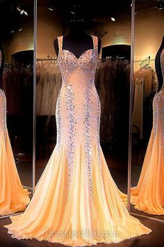 Gold Formal Dresses,Mermaid Formal Dresses,Chiffon Backless Prom Dresses,Classy Women Party Dress,Beautiful Graduation Dresses
