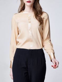 Shop Long Sleeved Tops - Apricot Work Buttoned Silk Long Sleeved Top online. Discover unique designers fashion at StyleWe.com.