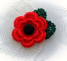 Crochet Brooch Red Poppy Flower Corsage Brooch от CraftsbySigita