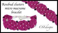 Rosebud clusters micro macrame bracelet ⎮ Valentine's Day