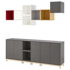 Storage combination with legs. With the EKET series you can build your storage big, small, colorful or discreet to either display or hide your things. And if your space and needs change, you can easily change your EKET solution too. Ikea Algot, Ikea Eket, Ikea Usa, Living Furniture, New Furniture, Ikea Shelving Unit, Storage Shelving, Ikea Regal, Flexible Furniture