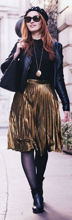 """www.fashionartista.com """"Why everyone is obsessed with the pleated metallic skirt trend"""""""